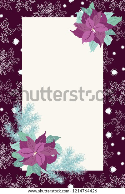 Floral Vintage Invitation Card Poinsettia Christmas Stock Vector ...