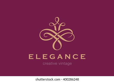 Floral Vintage Logo design abstract element vector template. Flourish Vignette Vintage Logo Logotype wedding luxury fashion jewelry concept icon.