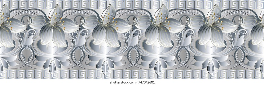 Floral vintage seamless border pattern. Vector white damask background with white 3d lily flowers, swirl leaves, dots, meander and greek key ornaments. Luxury surface texture. Ornate 3d border design.