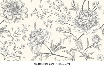 Floral vintage seamless pattern with flowers peonies. Oriental style. Vector illustration art. For design textiles, wrapping paper, wallpaper, clothes, interior, curtains, packaging. Black and white.