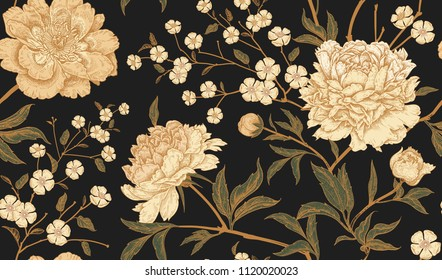 Floral vintage seamless pattern with flowers peonies. Oriental style. Vector illustration art. Template design for textiles, wrapping paper, wallpaper, clothes, interior, curtains, packaging.