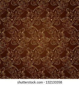 Floral vintage seamless pattern on brown background. Vector illustration.