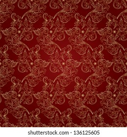 Floral vintage seamless pattern on red background. Vector illustration