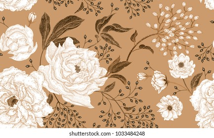 Floral vintage seamless pattern. Peonies and berries. White and gold. Oriental style. Vector illustration art. For design textiles, paper, wallpaper.