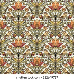 Floral vintage seamless pattern for retro wallpapers. Flowers and birds