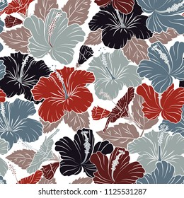 Floral vintage seamless pattern in white and gray colors. Cute vector hibiscus flowers print. Vector illustration.