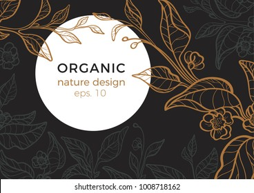 Floral vintage template Tea branch with leaf and art line flower Retro realistic style. Night, moon, garden. Copy space. Vector nature illustration on black background for card, menu, wallpaper eps.10