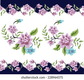 Floral Wallpaper with hand-drawn.