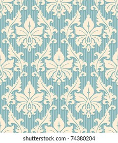 floral wallpaper pattern light yellow ornament and blue striped background