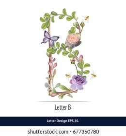 Floral Watercolor Alphabet. Letter B Made of Flowers. Typographic, Monogram.