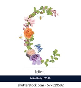 Floral Watercolor Alphabet. Letter C Made of Flowers. Typographic, Monogram.