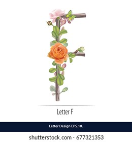 Floral Watercolor Alphabet. Letter F Made of Flowers. Typographic, Monogram.