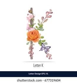 Floral Watercolor Alphabet. Letter K  Made of Flowers. Typographic, Monogram.