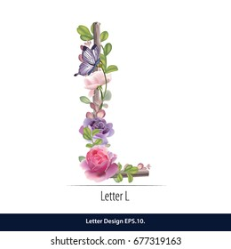 Floral Watercolor Alphabet. Letter L  Made of Flowers. Typographic, Monogram.