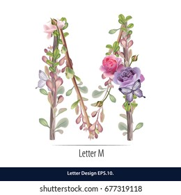 Floral Watercolor Alphabet. Letter M  Made of Flowers. Typographic, Monogram.