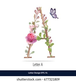 Floral Watercolor Alphabet. Letter A  Made of Flowers. Typographic, Monogram.
