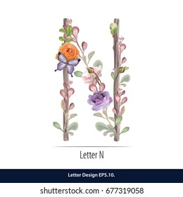Floral Watercolor Alphabet. Letter N  Made of Flowers. Typographic, Monogram.