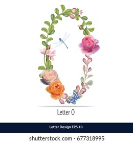 Floral Watercolor Alphabet. Letter O  Made of Flowers. Typographic, Monogram.