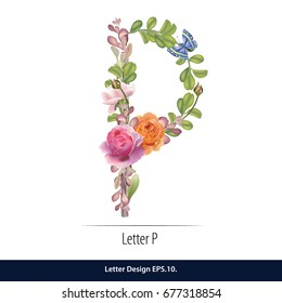 Floral Watercolor Alphabet. Letter P  Made of Flowers. Typographic, Monogram.