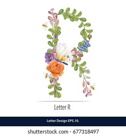 Floral Watercolor Alphabet. Letter R Made of Flowers. Typographic, Monogram.