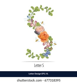 Floral Watercolor Alphabet. Letter S Made of Flowers. Typographic, Monogram.