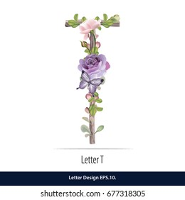 Floral Watercolor Alphabet. Letter T Made of Flowers. Typographic, Monogram.