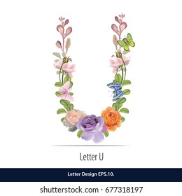 Floral Watercolor Alphabet. Letter U  Made of Flowers. Typographic, Monogram.