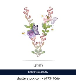 Floral Watercolor Alphabet. Letter V Made of Flowers. Typographic, Monogram.