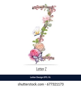 Floral Watercolor Alphabet. Letter Z Made of Flowers. Typographic, Monogram.