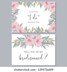 Floral watercolor bridesmaid greeting card template with cosmos flower bouquet