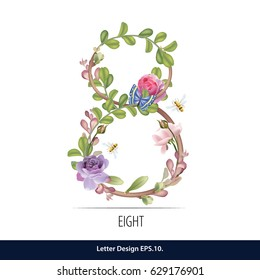 Floral Watercolor Number. Number Eight Made of Flowers. Number Monogram.