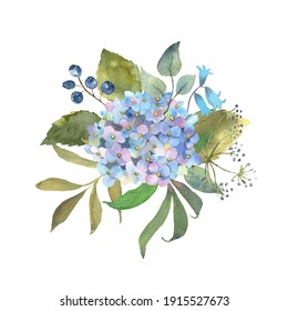 Floral watercolor set with blue hydrange. Botanical arrangements with flowers and leaves. Great for printing on fabric, banners, invitations and cards. Vector
