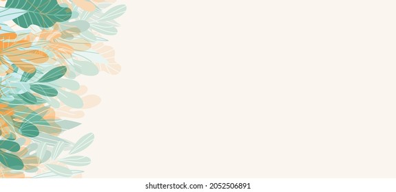 Floral web banner with drawn color exotic leaves. Nature concept design. Modern floral compositions with summer branches. Vector illustration on the theme of ecology, natura, environment.