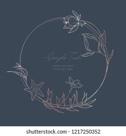 Floral wedding card template; sketched floral branches, lotos, algae, starfish, gold and pink geometric ring, on dark. Navy background. Nautical art. Marine wedding style. Flourishes ring & wreath.