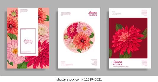 Floral Wedding Design. Flowers Layout Background Set for Poster, Brochure, Invitation, Greeting Card, Web Banner, Cover, Booklet, Flyer. Vector illustration