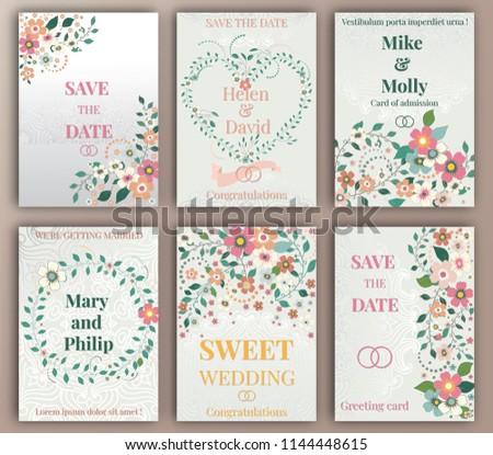 Floral wedding felicitation elegant invite set stock vector.