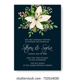 Floral wedding invitation beautiful white lilies anemone flower