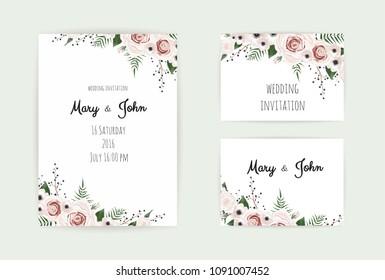 Floral Wedding Invitation. Botanical card vector Design garden pink, peach Rose flower, anemones ,green Eucalyptus, tender greenery.