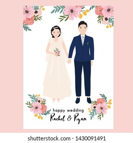 floral wedding invitation with bride and groom portrait illustration. also suitable for poster, gift, print, etc