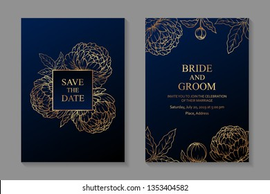 Floral wedding invitation card design with golden peonies on a dark blue background.