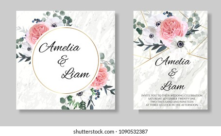 Floral wedding invitation card with pink garden rose,ranunculus,white anemone, eucalypyus leaves in watercolor style.Botanical set template with gold frame on marble background