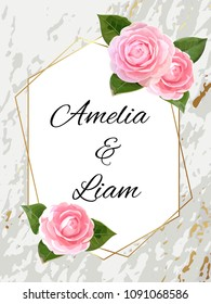 Floral wedding invitation card with pink camellia in watercolor style. Botanical  template with gold frame on marble background for invite, covers and greeting, package