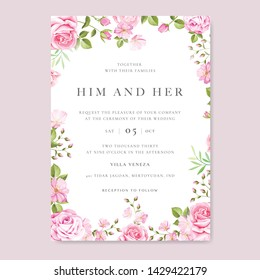Floral wedding invitation card with rose. Botanical template with golden frame and flowers for invite, greeting and covers