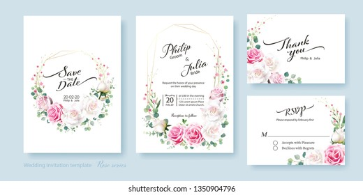 Floral wedding Invitation card, save the date, thank you, rsvp template. Vector. White and pink rose flower, silver dollar plant, olive leaves, Wax flower.