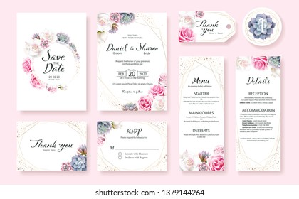 Floral Wedding Invitation card, save the date, thank you, rsvp, table label, menu, details, tage template. Vector. Pink and White Rose flower, Succulent plants.