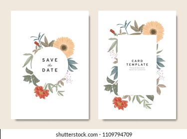 Floral wedding invitation card template design, bouquets of orange gerbera, paenia lactiflora, Thalictrum delavayi, hibiscus and leaves with circle and rectangle frames on white, vintage style