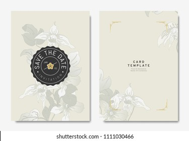 Floral wedding invitation card template design, hand drawn Clematis alpina flowers on light brown background, vintage style