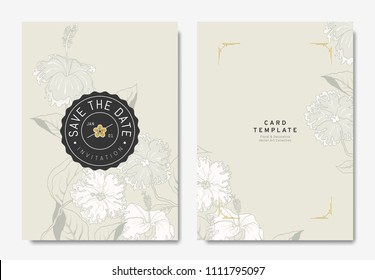 Floral wedding invitation card template design, hand drawn hibiscus flowers on light brown background, vintage style