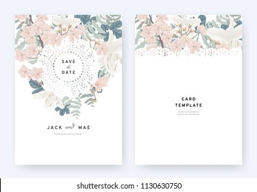 Floral wedding invitation card template design, pink sakura, white lily flowers and leaves with lace frame on white background, pastel vintage theme