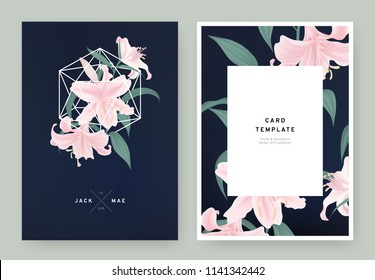 Floral wedding invitation card template design, pink lily flowers in white polygon shape on dark blue background, pastel vintage style